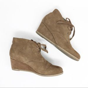 DOLCE VITA Suede Leather Wedge Ankle Boots Booties
